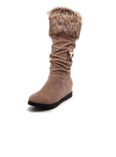 Suede Low Heel Mid-Calf Boots With Fur shoes