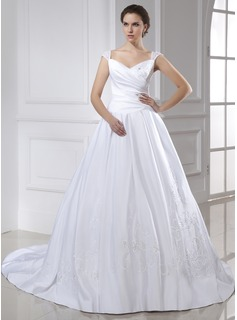 Ball-Gown V-neck Chapel Train Satin Wedding Dress With Embroidery Ruffle