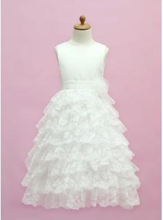 A-Line/Princess Scoop Neck Floor-Length Satin Lace Flower Girl Dress With Bow(s) Cascading Ruffles