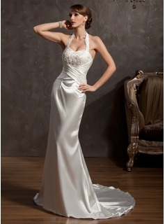 A-Line/Princess Halter Court Train Charmeuse Wedding Dress With Ruffle Lace Beadwork