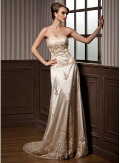 A-Line/Princess Sweetheart Court Train Tulle Charmeuse Wedding Dress With Ruffle Lace