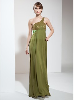 Empire One-Shoulder Floor-Length Chiffon Charmeuse Holiday Dress With Ruffle Beading (020025992)