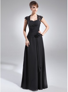 A-Line/Princess Sweetheart Floor-Length Chiffon Mother of the Bride Dress With Ruffle Lace Flower(s) (008006153)
