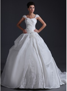Ball-Gown Sweetheart Chapel Train Taffeta Tulle Wedding Dress With Ruffle Lace Flower(s) Sequins (002017401)