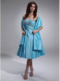 A-Line/Princess Sweetheart Tea-Length Taffeta Homecoming Dress With Ruffle Beading (022010609)