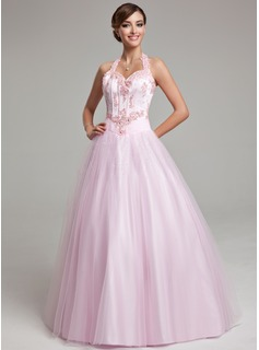 Ball-Gown Halter Floor-Length Tulle Quinceanera Dress With Lace Beading