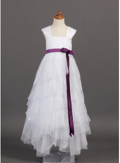 A-Line/Princess Square Neckline Floor-Length Tulle Charmeuse Flower Girl Dress With Sash Bow(s) Cascading Ruffles