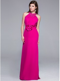 Sheath Scoop Neck Floor-Length Chiffon Charmeuse Evening Dress With Beading Flower(s)