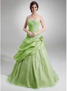 Ball-Gown Sweetheart Floor-Length Taffeta Organza Quinceanera Dress With Ruffle Lace Flower(s)