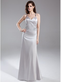 Sheath V-neck Floor-Length Charmeuse Evening Dress With Beading (017015814)