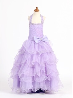 A-Line/Princess Scoop Neck Floor-Length Organza Charmeuse Flower Girl Dress With Beading Sequins Bow(s) Cascading Ruffles