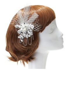 Charming Rhinestone/Lace Flowers & Feathers