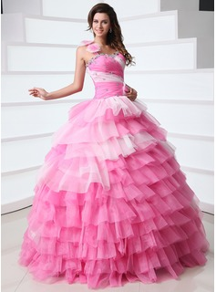 Ball-Gown One-Shoulder Floor-Length Organza Quinceanera Dress With Ruffle Beading Flower(s) (021017350)