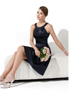 A-Line/Princess Scoop Neck Knee-Length Satin Bridesmaid Dress With Ruffle (007000943)