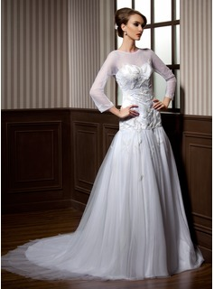 A-Line/Princess Scoop Neck Chapel Train Satin Tulle Wedding Dress With Beadwork (002004776)