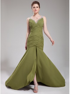 Trumpet/Mermaid Sweetheart Court Train Chiffon Tulle Evening Dress With Ruffle Beading Sequins