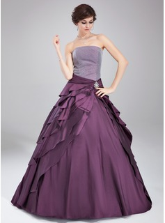 Ball-Gown Strapless Floor-Length Taffeta Quinceanera Dress With Crystal Brooch (021020765)