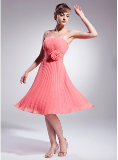 A-Line/Princess Knee-Length Chiffon Cocktail Dress With Ruffle Flower(s)