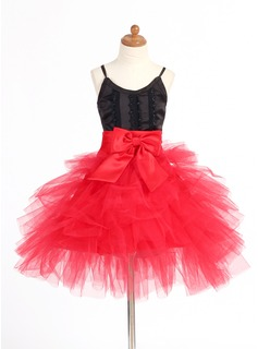A-Line/Princess V-neck Short/Mini Satin Tulle Flower Girl Dress With Lace
