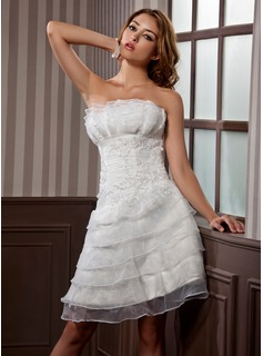 A-Line/Princess Scalloped Neck Knee-Length Organza Satin Wedding Dress With Ruffle Lace