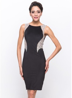 Sheath/Column Scoop Neck Knee-Length Tulle Jersey Cocktail Dress With Beading Sequins