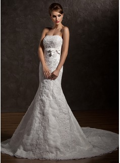 Trumpet/Mermaid Strapless Chapel Train Organza Satin Wedding Dress With Ruffle Lace Beading Bow(s)