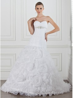 A-Line/Princess Sweetheart Chapel Train Organza Satin Wedding Dress With Ruffle Beading Flower(s)