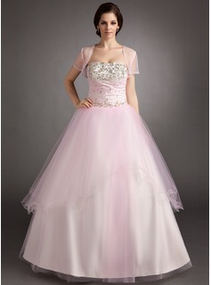 Ball-Gown Strapless Floor-Length Satin Tulle Quinceanera Dress With Ruffle Beading Sequins