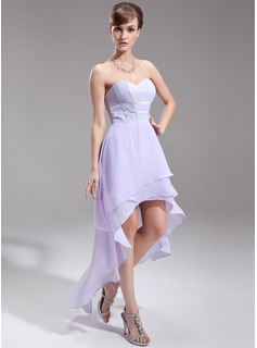 A-Line/Princess Sweetheart Asymmetrical Chiffon Holiday Dress