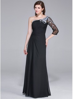 A-Line/Princess One-Shoulder Floor-Length Chiffon Tulle Evening Dress With Beading