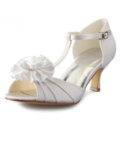Women's Satin Stiletto Heel Peep Toe Pumps Sandals With Satin Flower