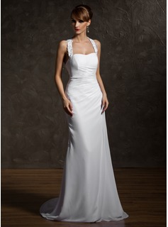 Sheath/Column Halter Court Train Chiffon Wedding Dress With Ruffle Lace Beadwork
