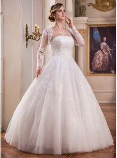 Ball-Gown Strapless Floor-Length Tulle Wedding Dress With Lace