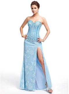 Sheath Sweetheart Floor-Length Tulle Charmeuse Prom Dress With Lace Beading (018043956)