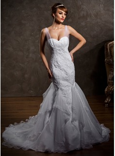 Trumpet/Mermaid Sweetheart Court Train Satin Tulle Wedding Dress With Ruffle Lace Beading