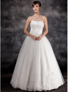 Ball-Gown Strapless Floor-Length Organza Charmeuse Wedding Dress With Ruffle Lace Beadwork