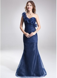 Mermaid One-Shoulder Sweep Train Organza Evening Dress With Ruffle Flower(s)