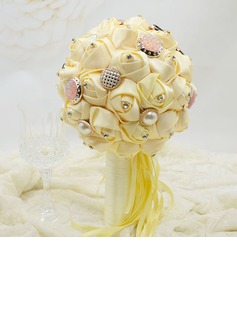 Vivifying Round Satin Bridesmaid Bouquets