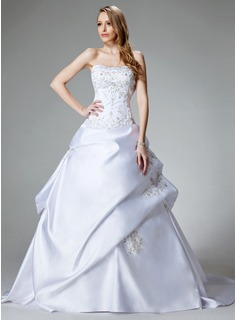 Ball-Gown Sweetheart Chapel Train Satin Wedding Dress With Embroidered Beading
