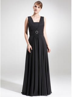 A-Line/Princess Square Neckline Floor-Length Chiffon Mother of the Bride Dress With Ruffle Crystal Brooch