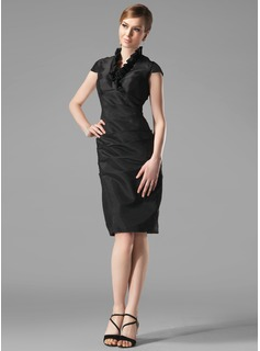Sheath V-neck Knee-Length Taffeta Holiday Dress With Ruffle (020003292)