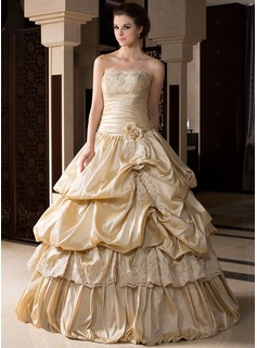 Ball-Gown Strapless Floor-Length Taffeta Quinceanera Dress With Ruffle Lace Beading Flower(s)