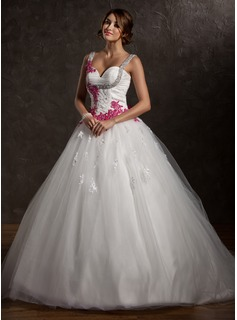 Ball-Gown Sweetheart Chapel Train Satin Tulle Wedding Dress With Ruffle Lace Sashes Appliques (002011413)