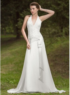 A-Line/Princess Halter Court Train Chiffon Charmeuse Wedding Dress With Ruffle Lace