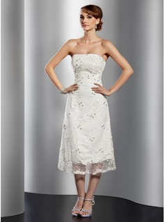 A-Line/Princess Strapless Tea-Length Satin Lace Cocktail Dress With Beading