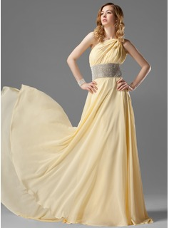 A-Line/Princess One-Shoulder Sweep Train Chiffon Prom Dress With Ruffle Beading (018021120)