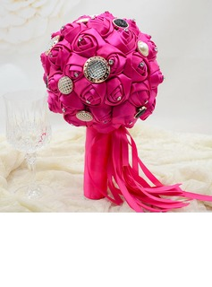Delicate Round Satin Bridesmaid Bouquets