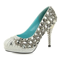 Women's Satin Cone Heel Closed Toe Platform Pumps With Rhinestone Crystal Heel (047033928)