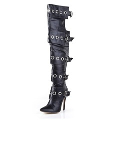Real Leather Stiletto Heel Pumps Closed Toe Over The Knee Boots With Buckle Zipper shoes