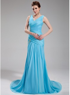 A-Line/Princess V-neck Court Train Chiffon Satin Evening Dress With Ruffle Beading (017019735)